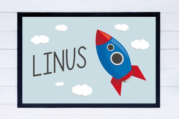 Fußmatte oder Spielmatte mit Motiv Rakete und Namen personalisiert