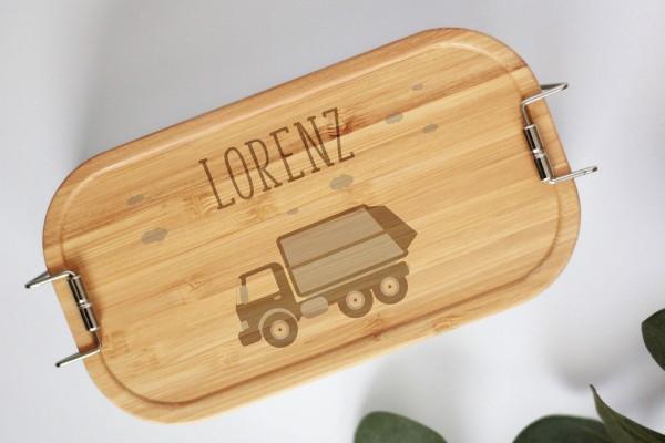 Nachhaltige Brotdose Müllauto mit Namen auf Lunchbox mit Bambusdeckel