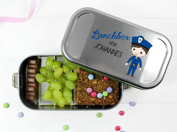 Brotdose Polizist in Blau für Jungs