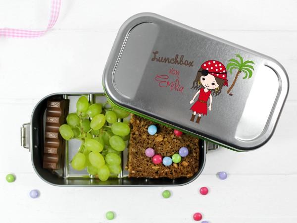personalisierte Lunchbox mit Piratendesign dür Mädchen