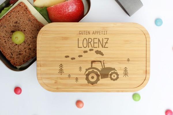 Nachhaltige Lunchbox aus Edelstahl mit Bambusdeckel Traktor Tregger
