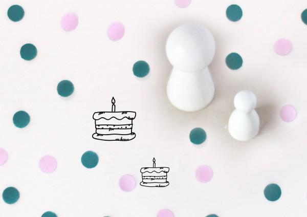 Kleiner Stempel mit Motiv: Torte mit Kerze