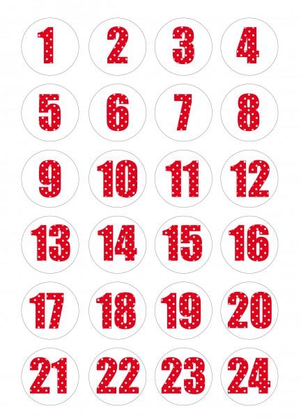 Adventskalender Sticker - Polka Dot Weiß/Rot