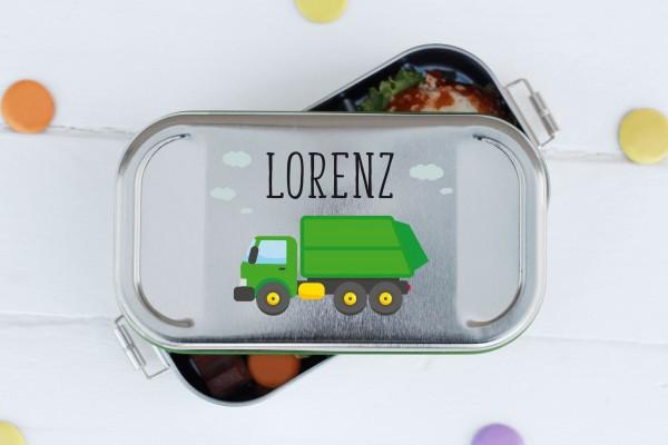 Nachhaltige Brotdose mit Abtrenner mit Name und Müllauto