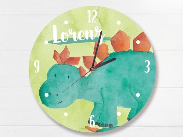 Wanduhr für Kinder Stegosaurus mit Namen