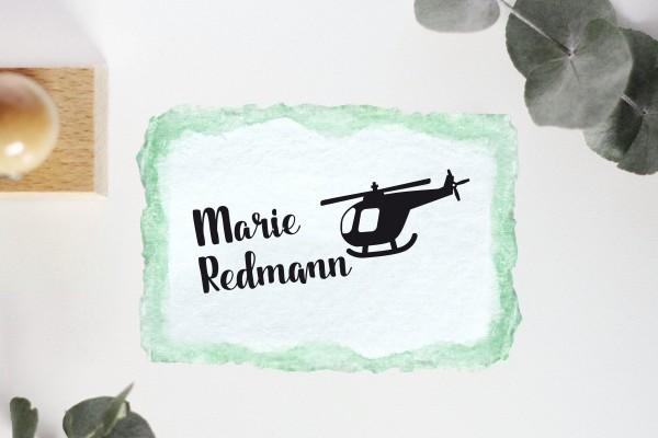 Kinderstempel Namensstempel mit Helikopter personalisiert