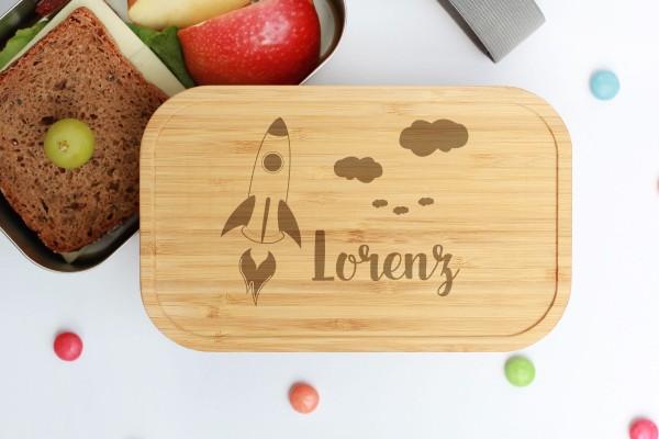 Nachhaltige Lunchbox aus Edelstahl mit Bambusdeckel Rakete